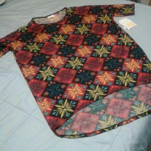Lularoe Irma Shirt Maroon Black Long Tunic XXS